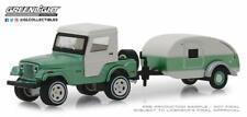 GREENLIGHT 1972 JEEP CJ-5 HALF CAB & TEARDORP TRAILER 1/64 GREEN WHITE 32160 B