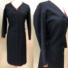 Antique VTG 1930s Ladies Black Wool w/Orange Piping Dress Project Costume AS-IS