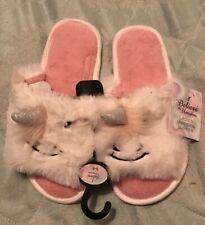 BNWT Ladies White Fluffy Unicorn Slippers. Size 5-6 Shoe