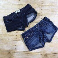 ABERCROMBIE Kids Girls Denim Jean Shortie Shorts 12 Stretch Dark Wash Lot of 2
