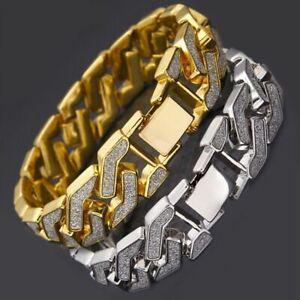 Rhinestone Cuban Bracelet Link Chain for Men Hip Hop Paved Bracelet Jewelry HK