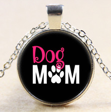 Dog Mom Photo Cabochon Glass Tibet Silver Pendant Necklace#CI50