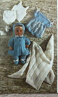 Vintage Knitting Pattern Baby Doll Bonnet Coat Dress Shawl/Blanket DK/4Ply E6694