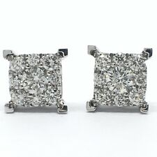 14k solid white gold square cluster diamond stud earrings. tdwt 0.45ct.