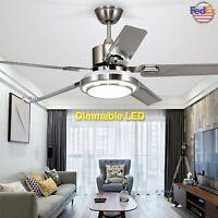 "48"" Ceiling Fan Lamp Brushed Nickel LED Light w/ Remote Control Reversible Motor"