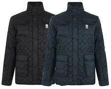 Crosshatch Men's Falcao Quilted Jacket S M L XL Black & Midnight Blue DD2