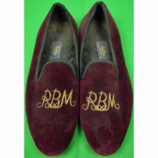 """Sulka Claret Velvet English Slippers w/ RBM Gilt Monogram Sz: 12""""L"""