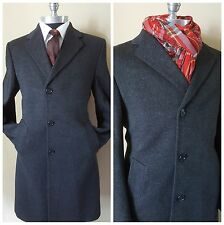 Nos Crombie England Custom Vintage Slim Gray Trench Topcoat Coat Mens38 48Eu 3Uk