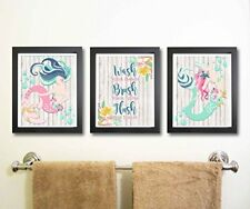 NEW Beautiful Mermaid Bathroom Wall Art Decor Set of Three FREE SHIPPING