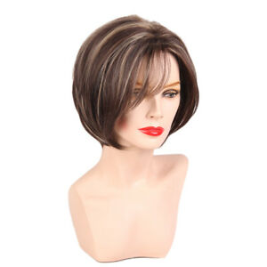 100% Human Hair Wigs w/   for Women Brown Short Natural Straight Layered
