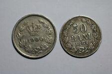 ROMANIA 50 BANI 1884 SILVER + 5 BANI 1900 B32 YL40
