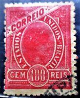 SCUSA-Brazil-Freedom Stamp 1905-100 reis-Used VF/LH CV-$40.00 LARGE MARGINS