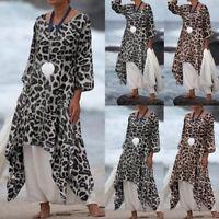 Plus Size Womens Leopard Print Long Sleeve T-Shirt Tunic Tops Casual Baggy Dress