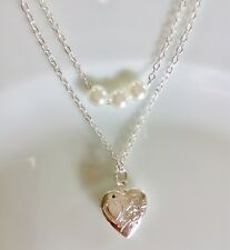 2 Thread Chain Pearl Sweat Heart Photo Locket Pendant Silver Plated Necklace