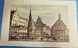 Nürnberg , der Marktplatz ( Nuremberg, le marché  ) art print poster Gravure