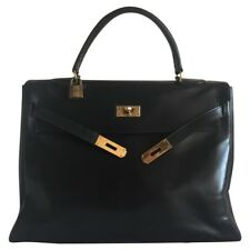 Authentic HERMES KELLY 35 2way Hand Bag Black Box Calf Vintage France RK13122a