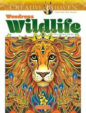 Wondrous Wildlife Animal Adult Colouring Book Elephant Wolf Racoon Koala Peacock