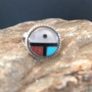Children Old Pawn Zuni Sterling Silver Turquoise Coral MOP Ring Size 2.5 Gift
