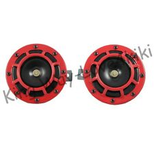2PCS/PAIR RED 12V SUPER LOUD GRILLE MOUNT COMPACT ELECTRIC BLAST TONE HORN KIT