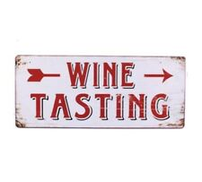 Vintage Wandschild Blechschild - WINE TASTING - Wegweiser Weinverkostung