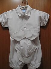 Will'beth Boys White one piece outfit/ at size 12 months 80% poly 20% Cotton