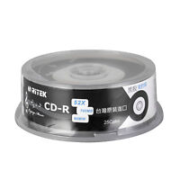 25pcs CD-R 700MB 80min Audio Disc 52X Black Vinyl Record 65mm Center Printable