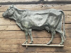 Antique Copper COW Weathervane 19th Cent Great Patina Hollow Body Nice Condition