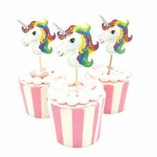 12 x UNICORN CAKE TOPPERS Cupcake Decoration Flags Party Kids Girl Birthday Idea
