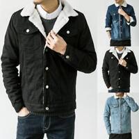 Men Western Vintage Fleece Jacket Fur Lining Coat Jean Denim Single Breasted Pop