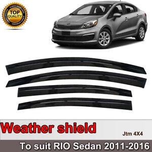 Slim Weather Shield Weathershield Window Visor for KIA RIO UB Sedan 2011-2016