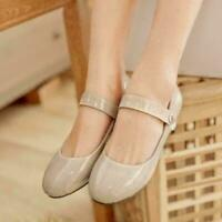 Womens Shiny Leather Mary Jane Ballet Flats Buckle Strap Casual Shoes Big Size47
