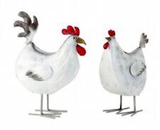 Hahn und Henne 23,5 cm Metall Figuren Gockel Huhn Hühner Dekofigur Garten Deko