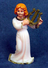 Christmas Angel playing harp, Vintage 1960s solid polymer figurine statuette