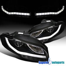 For 2006-2008 Audi A4 Black Projector Headlights W/BMW Style LED Strip