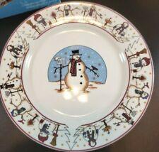 Snowman Holiday Salad Dessert Plates Set of 4 Cambridge Potteries 2002