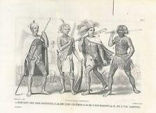 1859 SANDWICH MADISON GAMBIER SULAWESI ISLANDS costumes steel etching Nuku Hiva