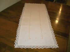 Vintage Embroidered Dresser Scarf/Table Runner w/Small Pink Flowers   (#5)