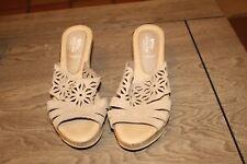 SPRING STEP Women's Sandals Beige Cork Wedge Open Toe Cut Out Shoes 8.5 US (D6)