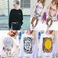 Fashion Womens Loose Sweatshirt Pullover T Shirt Long Sleeve Cotton Tops Blouse