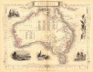 AUSTRALIA.Sydney view.Pre-Queensland (est 1859).Counties.TALLIS/RAPKIN 1849 map