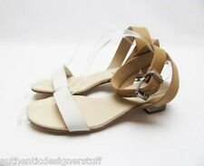 Auth SEE by CHLOE Two Tone Leather City Strap Sandals, Size 7.5