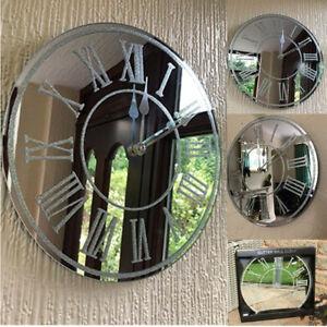 Mirrored Glass Home Stuff Sparkly Silver Glitter Roman Numerals Round Wall Clock