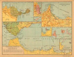 NORTE DE AFRICA ESPANOL. CEUTA MELILLA Marruecos Chafarinas Alboran c1911 map