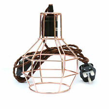 Rose Copper Geometric Table Cage Lamp with Dimmer and UK Plug