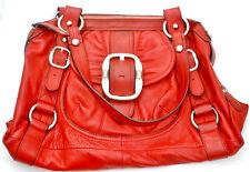 B. Makowsky Large Red Leather Hobo Bag Shoulder Bag Handbag Purse Buckle