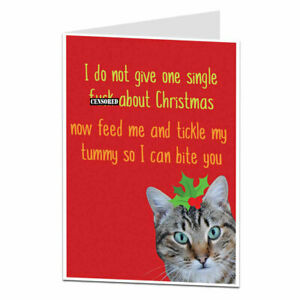 Funny Rude Christmas Card Offensive Xmas Cat Design