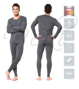 Mens Thermal Long Johns Top Bottom Underwear Grey Full Sleeve Set Base Layer