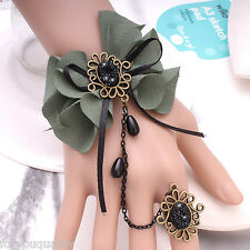 Ladies Fashion Lace Retro Vintage Style Crystal Flower Bracelet Ring For Women