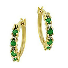 Emerald Natural Diamond Hoop Earrings Yellow 14k Gold over