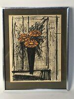 """1968 """"FLOWER"""" by Bernard Buffet Framed Lithograph w Artists Collectors Guild"""